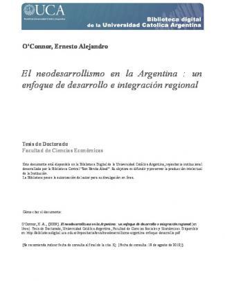 El Neodesarrollismo En La Argentina : Un Enfoque De Desarrollo E