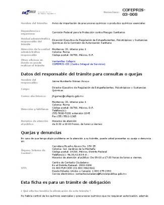 Cofepris- 03-008 Datos Del Responsable Del Trámite Para