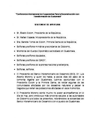 • Sr. álvaro Colom, Presidente De La República, • Sr. Rafael Espada