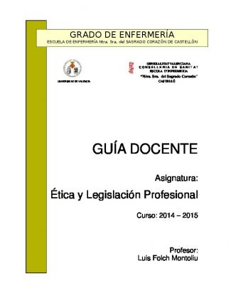Guía Docente Etica Y Legislación Profesional 2014-2015