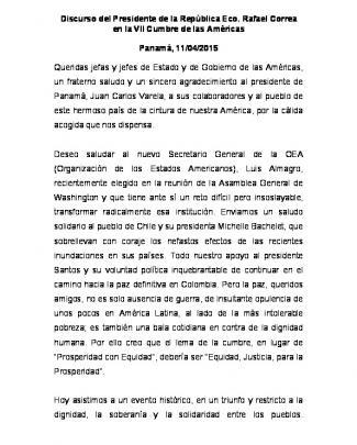 Discurso Del Presidente De La República Eco. Rafael Correa En La
