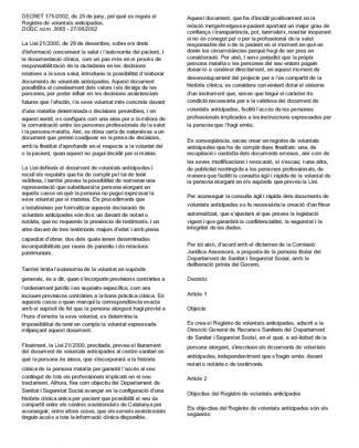 Decret 175 2002 Registre Voluntats Anticipades
