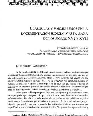 Cláusulas Y Formulismos En La Documentación Judicial Castellana