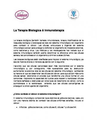 La Terapia Biologica ó Inmunoterapia
