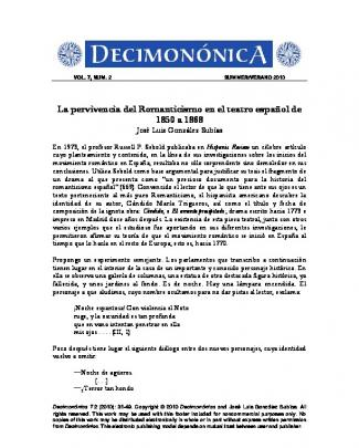 La Pervivencia Del Romanticismo En El Teatro Español De 1850 A 1868
