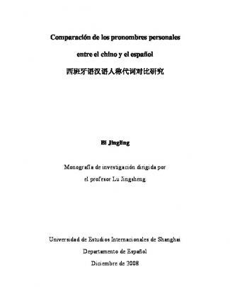 Comparación De Los Pronombres Personales Entre El Chino Y El