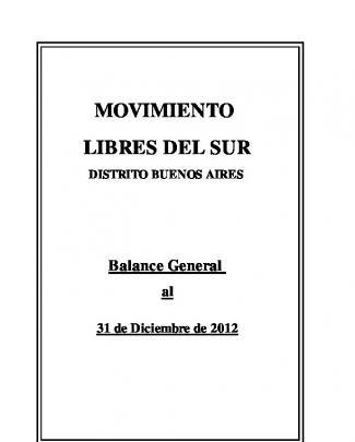 Balance 2012 - Libres Del Sur