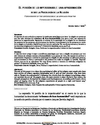 1 Dossiê Artigo El Perdón - Portal De Periódicos Eletrônicos Puc