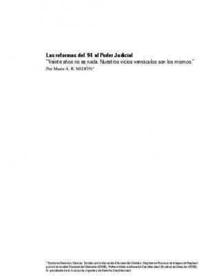 """Las Reformas Del `94 Al Poder Judicial """"veinte"""