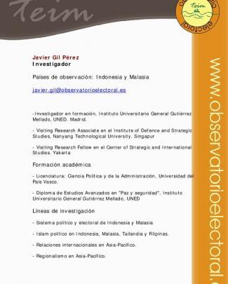 Javier Gil Pérez Investigador Países De Observación: Indonesia Y