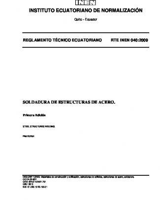 Rte Inen 040 - Servicio Ecuatoriano De Normalización