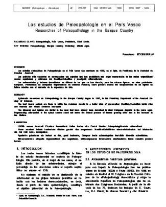 Los Estudios De Paleopatología En El País Vasco