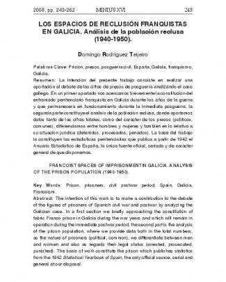 Los Espacios De Reclusión Franquistas En Galicia