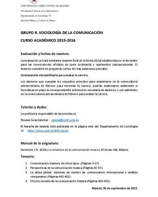 Sociología De La Comunicación - Universidad Complutense De Madrid