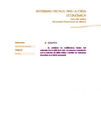 Reformas Fiscales Tras La Crisis Económica