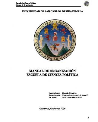 Manual De Organización Escuela De Ciencia Política