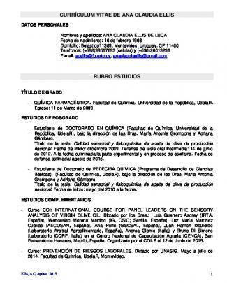 Currículum Vitae De Ana Claudia Ellis Rubro Estudios