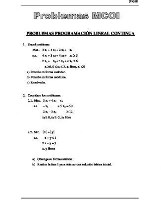 Problemas Programación Lineal Continua
