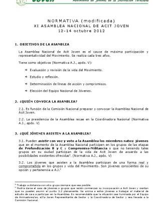 Normativa De La Xi Asamblea Nacional De Acit Joven (modificada).