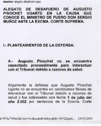 Alegato De Desafuero De Augusto Pinochet Ugarte
