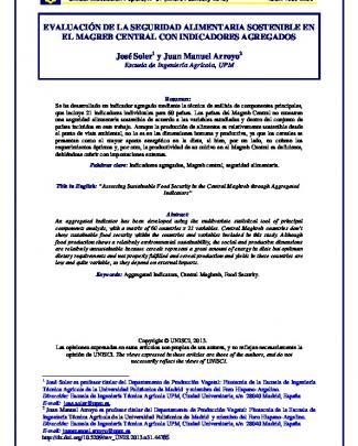 Evaluación De La Seguridad Alimentaria Sostenible En El Magreb