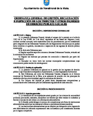 Ordenanza General De Gestión, Recaudación E Inspección De Los