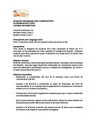 Spanish Grammar And Composition Intermediate Level