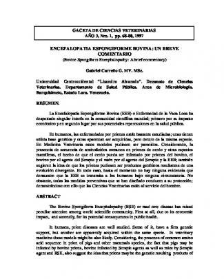 Encefalopatia Espongiforme Bovina: Un Breve Comentario