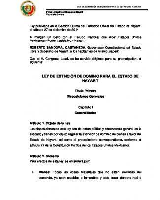 Ley De Extinción De Dominio Para El Estado De Nayarit