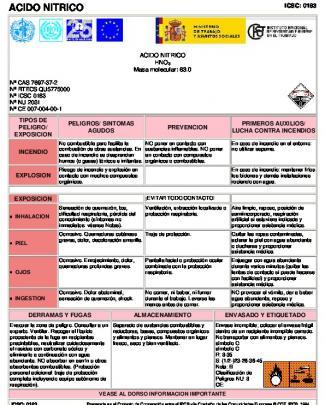Fichas Internacionales De Seguridad Química Acido Nitrico