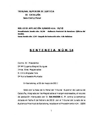 41.a.jurat 19.10 Sentència N1 14 De 23.5.11 Sr