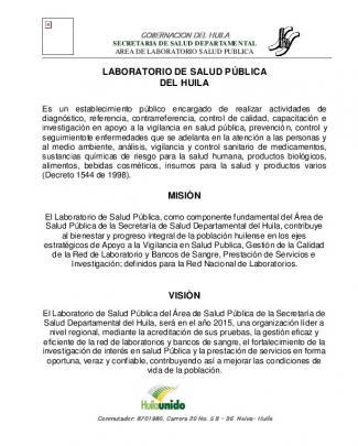 Laboratorio De Salud Pública Del Huila