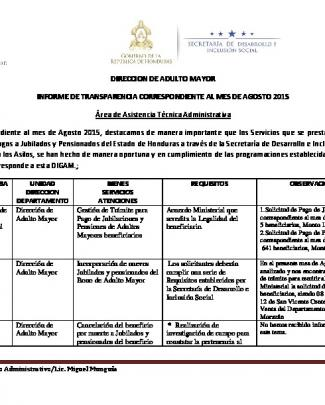 Adulto Mayor - Agosto 2015 - Secretaría De Desarrollo E