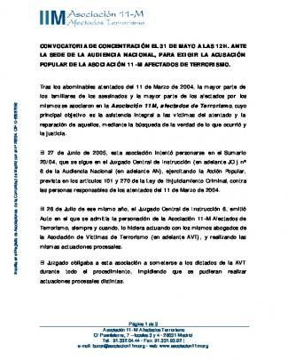Convocatoria De Concentración El 31 De Mayo A Las 12h