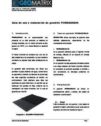 Guía De Uso E Instalación De Geodrén Permadrain - G-tech