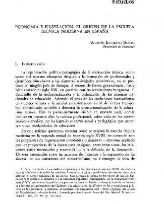 Economía E Ilustración. El Origen De La Escuela Técnica Moderna En