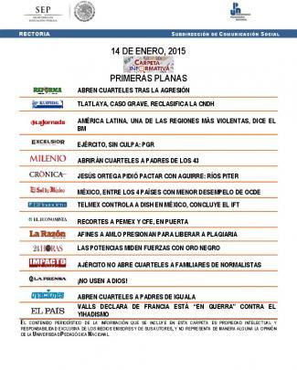 14 De Enero, 2015 Primeras Planas