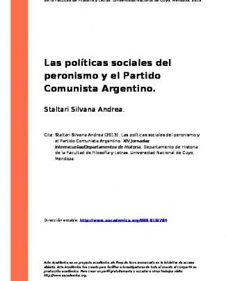 Las Políticas Sociales Del Peronismo Y El Partido Comunista Argentino