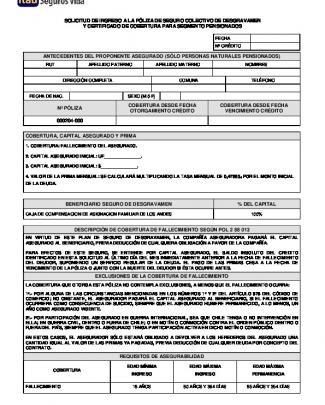 Certificado De Cobertura De Desgravamen