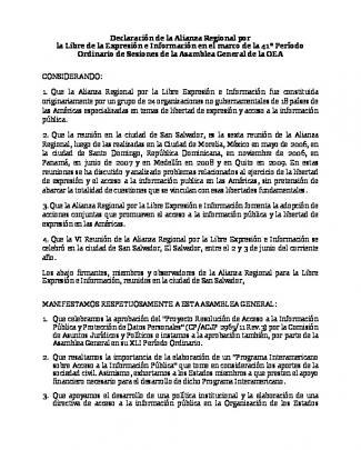 Declaración De La Alianza Regional Por La Libre De La Expresión E