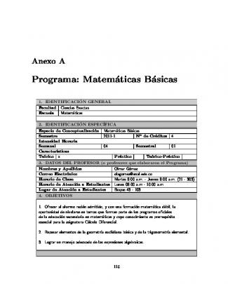 Programa: Matemáticas Básicas - Universidad Nacional De Colombia