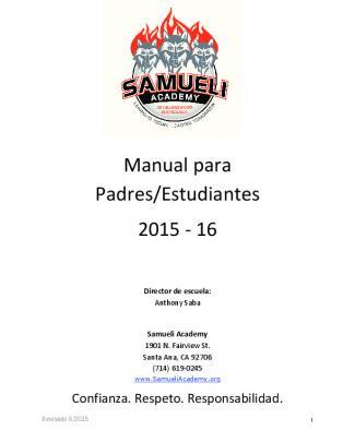Manual Para Padres/estudiantes 2015 - 16