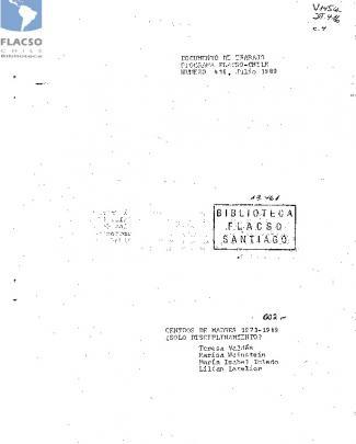 Centros De Madres 1973-1989 ¿sólo - Flacso
