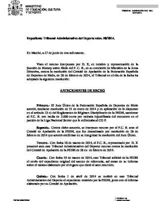 Resb 50.14 Tad - Consejo Superior De Deportes