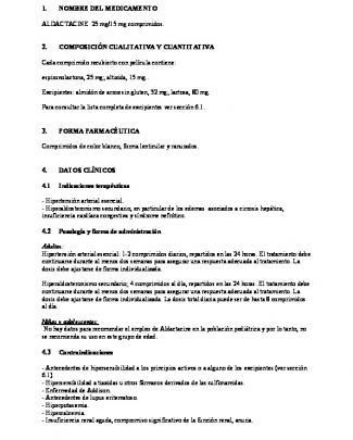 - 1 - 1. Nombre Del Medicamento Aldactacine 25 Mg/15