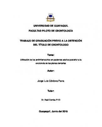 Universidad De Guayaquil Facultad Piloto De Odontología Trabajo De