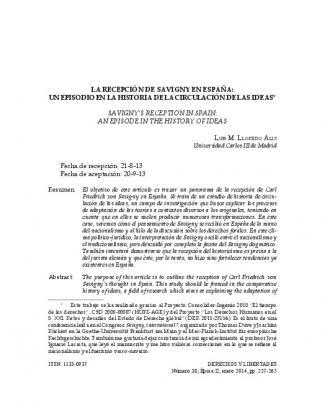 La Recepción De Savigny En España: Un - E