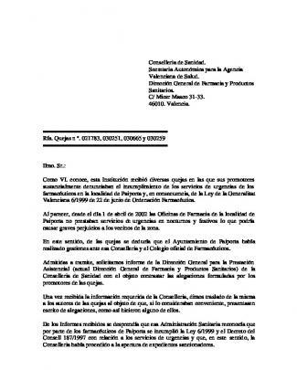 Conselleria De Sanidad - Síndic De Greuges. Comunitat Valenciana
