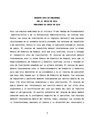 Boletin 3970 De Registros Del 21 Julio De 2015