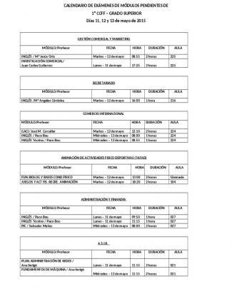 Calendario De Exámenes De Módulos